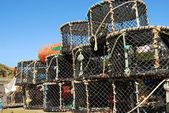 Lobster pots in a Cornish fishing village — Stock Photo