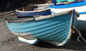 Blue fishing boat in Cornwall — Stock Photo