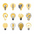 Light bulb idea. Vector logo template set. Icons set. — Vettoriale Stock