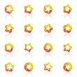Five-pointed stars. Vector logo template set. — Stock Vector