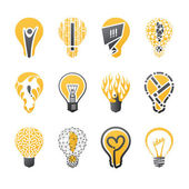 Light bulb idea. Vector logo template set. Icons set. — Stock Vector