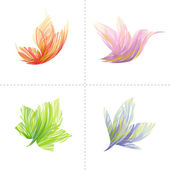 Collection of design elements: butterfly, hummingbird, leaf, flower. — Stock Vector