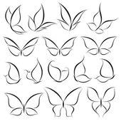 Butterflies. Vector logo template set. — Stock Vector