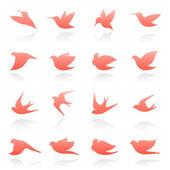 Birds. Elements for design. Vector logo template set. — Stock Vector