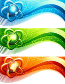 Abstraktní bannery s koulí. vektorové ilustrace. — Stock vektor