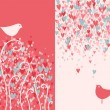 Valentine's day greeting card with two pretty love birds. — Stok Vektör