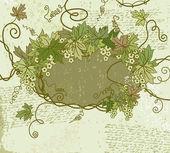 Cadre floral grunge. illustration vectorielle. — Vecteur