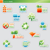 Collection of diet labels and healthy food symbols. — 图库矢量图片
