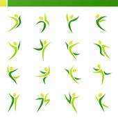 Abstracte menselijke figuren in actie. vector logo sjabloon set. — Stockvector