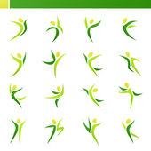 Abstrakta mänskliga figurer i aktion. vektor logo mall set. — Stockvektor