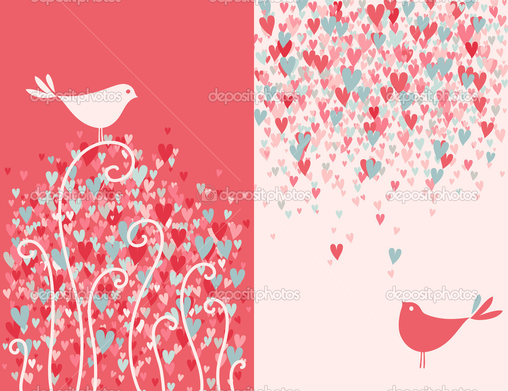 Valentine's day greeting card with two pretty love birds. Vector illustration. — Stock Vector #9348530