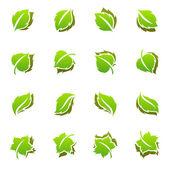 Leaves. Vector logo template set. — Stock Vector