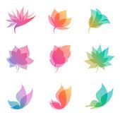 Natureza pastel. vetor logotipo modelo conjunto. — Vetorial Stock