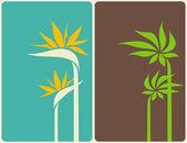 热带花卉和叶子。矢量插画. — 图库矢量图片