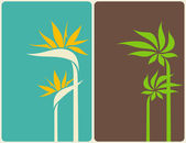 Tropical flowers and leaves. Vector illustration. — Stock Vector