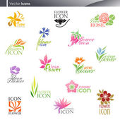 Flowers. Vector logo template set. Elements for design. — Stock Vector