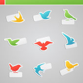 Set of multicolored birds with tags. Vector logo template set. — Stock Vector