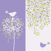 Two pretty love birds and flowery branches. Vector illustration. — Stock Vector