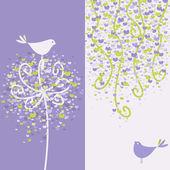 Dois pássaros do amor bonito e ramos floridos. ilustração vetorial. — Vetor de Stock