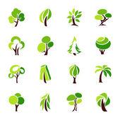 Ağaçlar. vektör logo şablonu koymak. — Stok Vektör