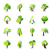 Trees. Vector logo template set. — Stock Vector