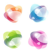 Abstract colorful labels with bubbles. Vector illustration. — Stock Vector
