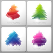 Set of abstract shiny Christmas trees. Vector illustration. — Stock Vector