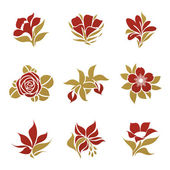 Flowers. Vector logo template set. Elements for design. — Vector de stock