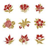 Kwiaty. szablon logo wektor zestaw. elementy konstrukcji. — Wektor stockowy