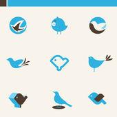 Set di simpatici uccelli blu. elementi di design. set di icone. — Vettoriale Stock