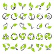 Leaves. Vector logo template set. - Stock Vector