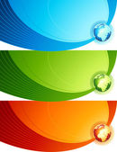 Colorful banners with globes. Vector illustration. — Stock Vector