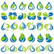 Drops and leaves. Vector logo template set. Elements for design. - Vettoriali Stock