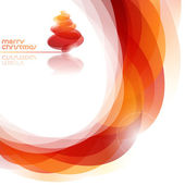 Fondo naranja abstracto con brillante árbol de navidad. ilustración vectorial. — Vector de stock