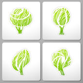 Trees. Collection of design elements. — ストックベクタ