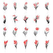 Flowers. Vector logo template set. Elements for design. — Stock Vector
