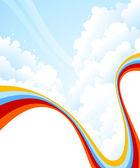 与云的背景。矢量插画. — 图库矢量图片