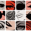 Stock Vector: Set of female face parts. Vector illustration.