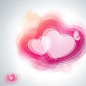 Abstract pink hearts and white butterfly. Vector illustration. — Stock vektor