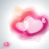 Abstracte roze harten en witte vlinder. vectorillustratie. — Stockvector
