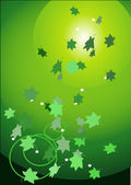 Green leaves fall on a sunlight — Stock Vector