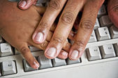 Parent Stopping Child's Hand At Computer — ストック写真