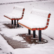 Snowy Benches — Stock Photo
