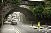 European Hill Road Under Arch — Stock Photo