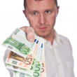 Businessman with Euros — Stock Photo