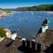A view of Dartmouth, the River Dart and Kingswear from the coastal path in Devon, England - Stock Photo