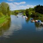 A tranquil river in Totnes in Devon — Stock Photo