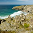 The fabulous Cornish coastline on a beautiful day from the South-est coastal path. - Stock Photo