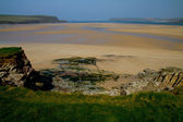 The sandy bay of the River Camel by Padstow, Cornwall — Stock Photo