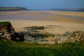 Piaszczystej zatoce rzeki camel przez padstow, cornwall — Zdjęcie stockowe